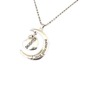 """Daughter Love You Moon Heart 18KGP Necklace 18"""""""